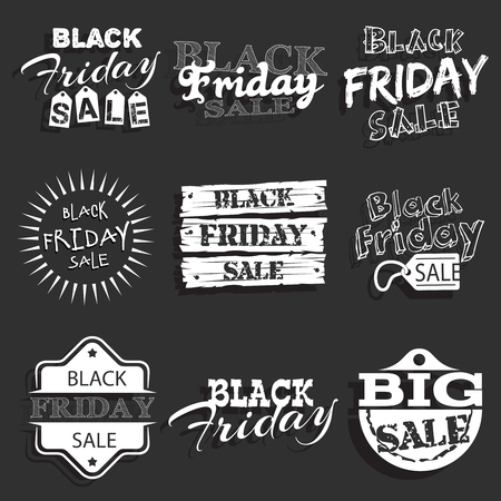 consumerism: Black friday label, badge with calligraphic design set.  Consumerism and emblem, typography sale offer, collection illustration