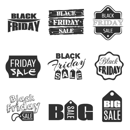 consumerism: Black friday typographic design.sale label and badge set. Offer and shop, business consumerism, price and discount illustration