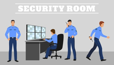 security monitor: Security room and working guards.  Work and service system, technology control safety.
