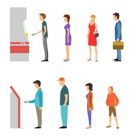 Pago Banca infografía plana. Línea de hombres y mujeres en cajeros automáticos y terminales. Efectivo financiero del Banco, ilustración retiro de dinero de sueldos
