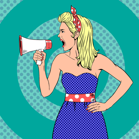 to announce: Girl with megaphone  or loudspeaker in pop-art style.  Communication announce, shouting announcement, speaker female young.