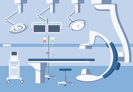 quirurgico: Médico quirófano de cirugía del hospital, teatro con el equipo en el estilo plano. Emergencia quirúrgica Operación, la asistencia sanitaria y limpia, higiene y mesa de ilustración