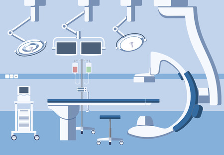 operations: Medical hospital surgery operating room, theater with equipment in flat style. Operation surgical emergency, healthcare and clean, hygiene and table illustration