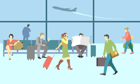 Business people in airport terminal. travel concept background. Traveler and departure, transportation passenger, luggage and baggage, journey illustration Vettoriali