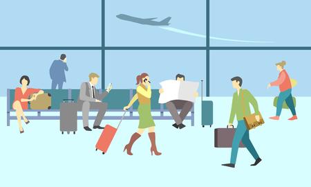 Zakenmensen in terminal van de luchthaven. concept reis achtergrond. Reiziger en vertrek, het vervoer van passagiers, bagage en bagage, reis illustratie