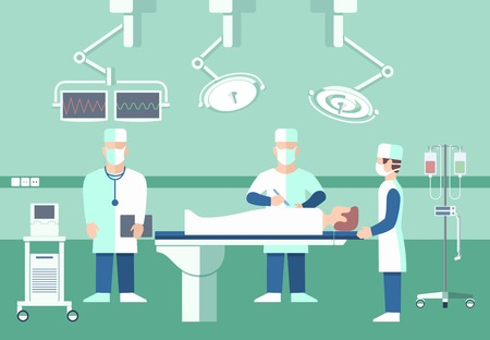 Surgeons in operation theater. medical concept. Room with people, scalpel and screen, disease and pulse patient, assistant doctor illustration