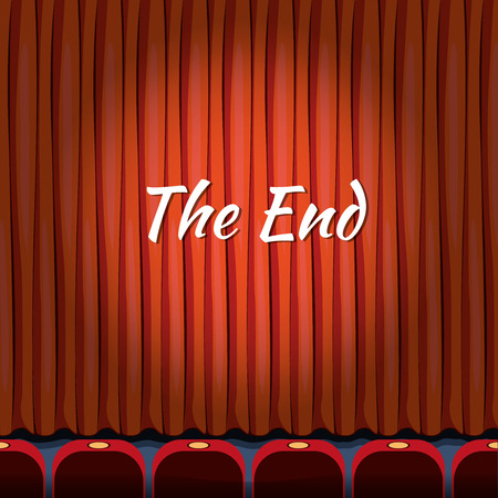 close: Movie ending screen concept background in cartoon style. Curtain close theater, end or finish, show or entertainment illustration