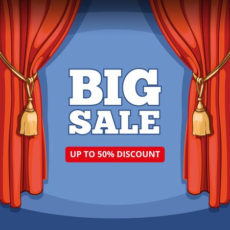 stage: Big sale, special offer background for business promotion. Shopping discount, price and consumerism, curtain vintage, stage and show, retail and promotion illustration Illustration