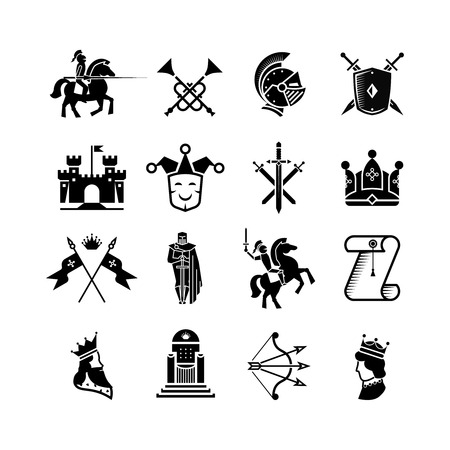 weapons: Knight medieval history icons set. Middle ages warrior weapons. Arrow and crown, clown and knight, kingdom and throne illustration Illustration