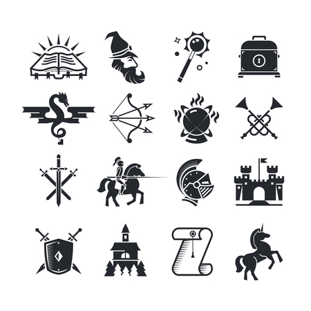 Fantasy tale black icons set. Medieval arrow and bow, spellbook and witchcraft illustration
