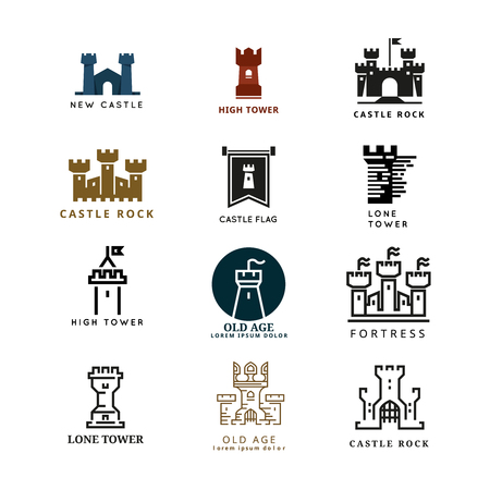castello medievale: Castello, insieme fortezza. Torre di icone di architettura, costruzione medievale, forte illustrazione Vettoriali