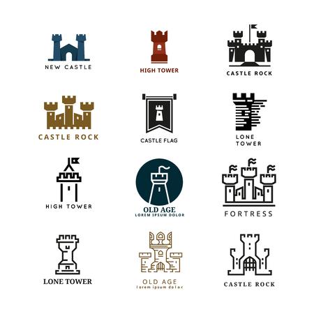 Hrad, pevnost set. Věží architekturu ikona, stavební středověkých, tvrz ilustrace