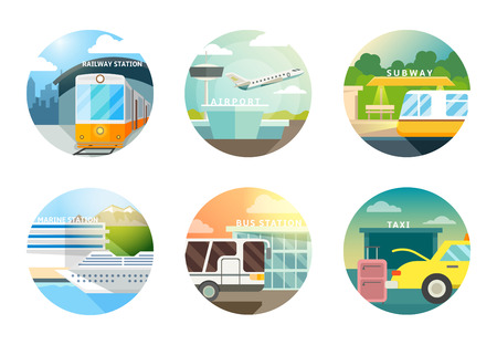 transportation: Stazioni di trasporto icone piane impostate. Trasporti e ferrovia, l'aeroporto e la metropolitana, metropolitana e taxi, Vettoriali