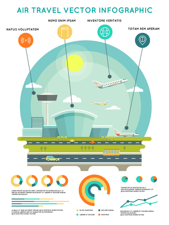 air traffic: Air travel infographic template with airport and aircrafts. Transport and travel, transportation airline, illustration Illustration