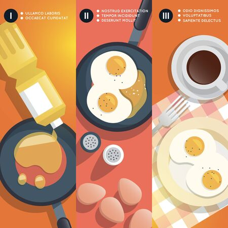 yolk: Frying scrambled eggs cooking instruction. Yolk and pan, oil and coffee cup, breakfast gourmet.