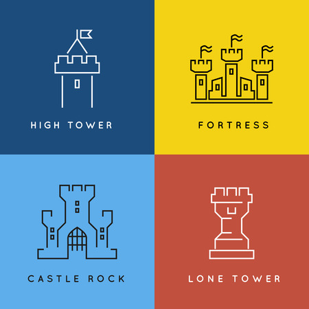 fort: Castle and fortess line style or outlined icon set. Tower architecture building, medieval old symbol fort or palace illustration