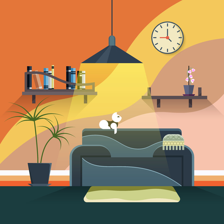 sofa furniture: Interior of modern living room in flat design style. Furniture and couch, sofa in home illustration Illustration