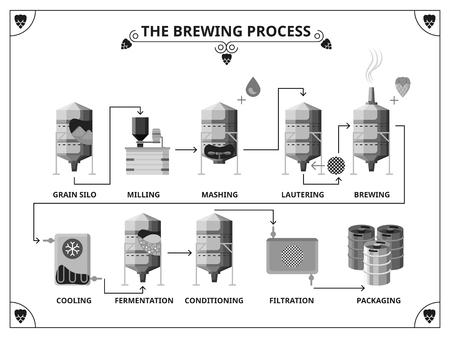 filtración: Cervecería plantilla infografía proceso de producción. Fernentation y acondicionamiento, filtración y envasado de ilustración Vectores