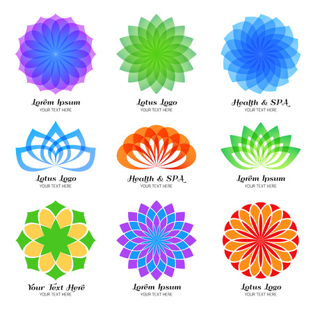 beauty of nature: Lotus color, label and emblem set. Symbol flower, design floral beauty spa element, nature abstract template unusual illustration