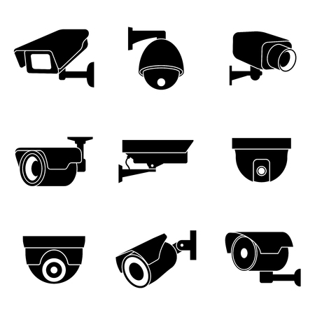video surveillance: Security surveillance camera, CCTV icons set. Private protection safety, surveillance and watching illustration