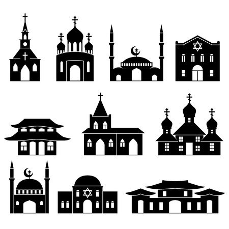 catholicism: Church building black icons set. Architecture judaism and islam, orthodoxy and catholicism, christianity religion, illustration