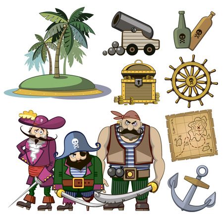 style wealth: pirate characters set in cartoon style. Costume and palm, hook and island, wealth treasure, map and rum, cannon and adventure illustration Illustration