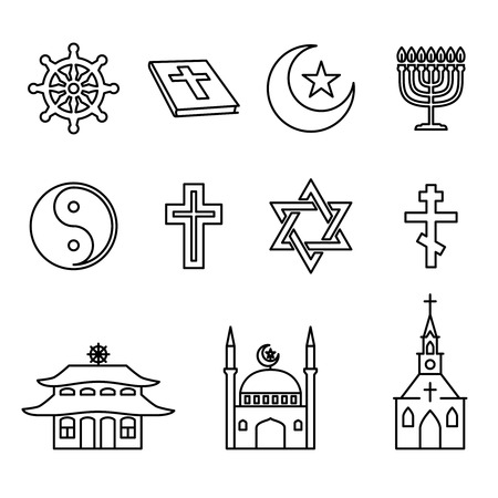 religion: Religion line icons set. Architectural church, yin-yang and buddhism, cross and star, bible and crescent illustration