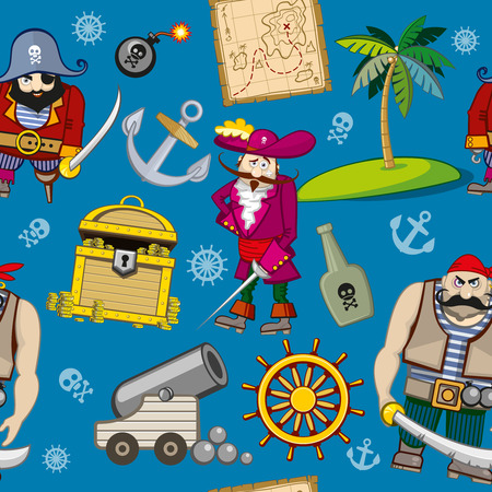 treasure: Cartoon pirates seamless pattern background. Anchor and palm, hook and treasure, steering wheel and bomb illustration Illustration