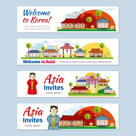 traditional culture: Korea, japan, thailand travel banners template set. Invitation to asia, design card, oriental east culture, traditional poster illustration
