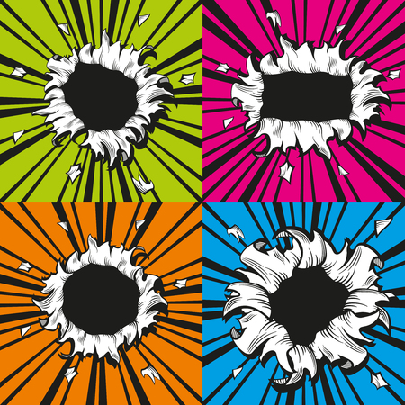 holes set in comic book style. Boom and explosion, bomb bang illustration