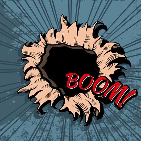 Comic style hole background. Boom explosion bomb, bang and break, sound and noise illustration Illustration