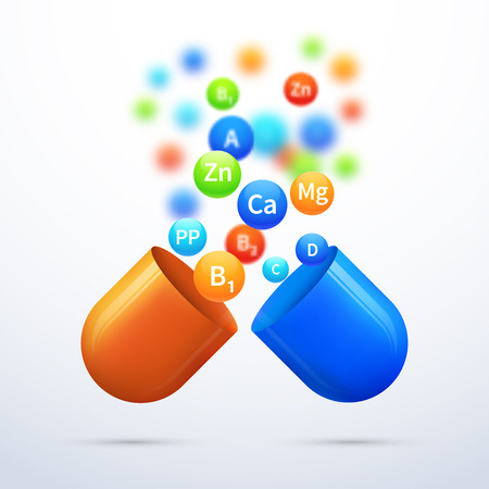Medical vitamins and minerals background. Pill and care healthy, capsule pharmaceutical illustration