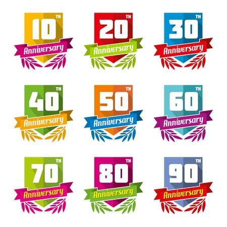 anniversaire: Célébration de l'anniversaire de l'emblème dans le style plat. Célébrez signe, élément de conception d'anniversaire, félicitations et l'insigne décoratif.