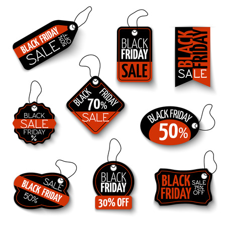 black a: black friday sales tag and banners set. Discount and price, design label, offer and retail illustration