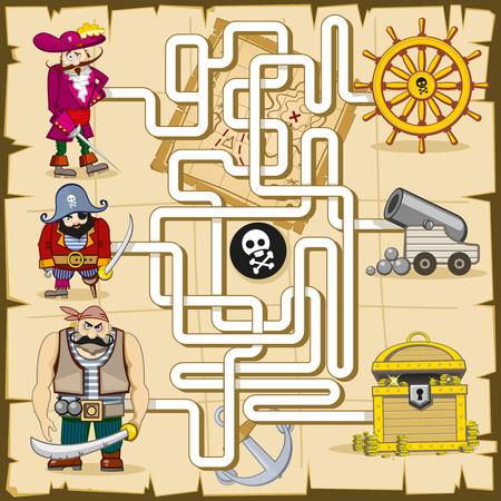 laberinto: Laberinto con los piratas. juego para los niños. Reproducir encontrar el tesoro, mapa y concursos, búsqueda de cañón, ilustración lógica enigma