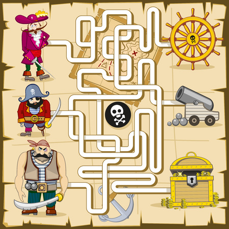 pirate cartoon: Maze with pirates. game for kids. Play find treasure, map and quiz, search cannon, riddle logic illustration
