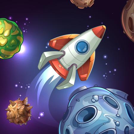 astronomie: Filmplakat mit Planeten, Mond, Sterne und Weltraum-Rakete. Schiff und Wissenschaft, Technik Astronomie, Galaxis und Shuttle, Sojus und Fahrzeug. Illustration