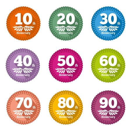 80 90: Vintage anniversary sign and label collection. Emblem decoration 90, 80  birthday flat design symbol illustration