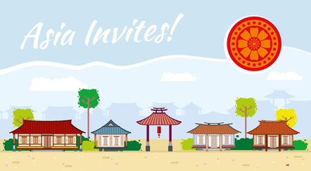 traditional culture: Asia travel background. Invitation design banner, oriental culture, traditional tourism illustration
