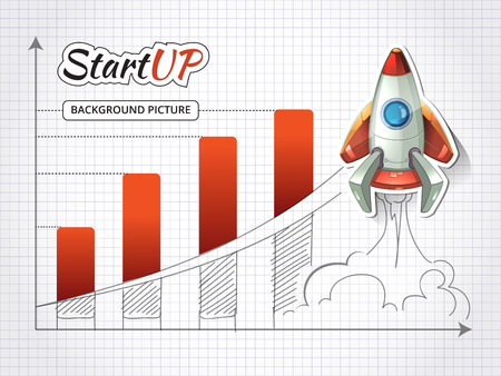 an achievement: Start up new business project infographic with rocket. Achievement and beginning, success graphic