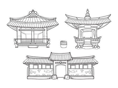 korea: Hanok Korean traditional architecture outline set. Palace house, architecture asia village culture, asian home illustration Illustration