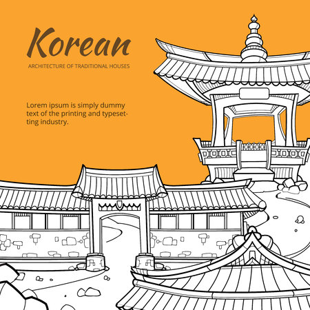asian culture: Background with Korean architecture of traditional houses. illustration in hand drawn style. Street traditional house, architecture asia, village or city or town culture asian