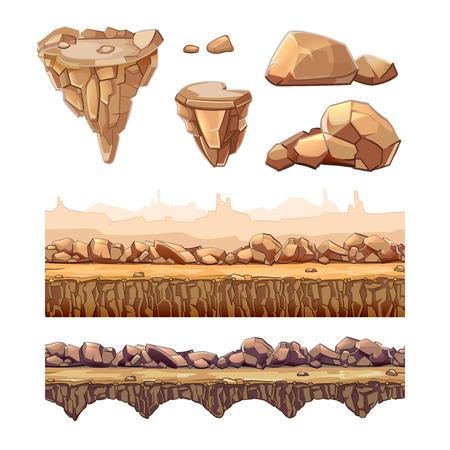シームレスな漫画石とゲーム デザインのための橋。別のレイヤー内の要素。Ui アート インターフェースや自然風景、道路レベルの図  イラスト・ベクター素材