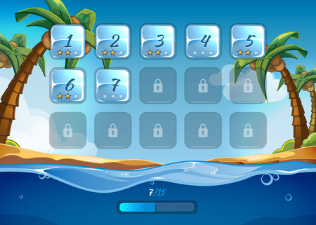Island game background with user interface UI in cartoon style. App and background, sea and adventure, water and wave, play and beach,  illustration