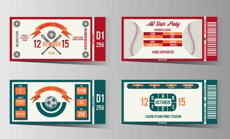 biglietto: Calcio, calcio e modello di progettazione di biglietti di baseball. Scheda gioco invito illustrazione Vettoriali