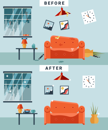 cartoon clock: Dirty and clean room before and after cleaning. Garbage and disorder, cup and picture, disorganized cartoon apartment.  Illustration