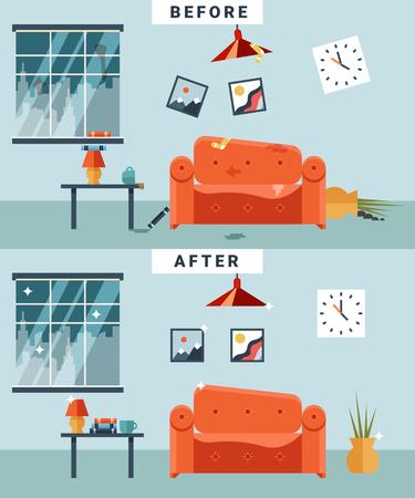 habitacion desordenada: Habitación sucia y limpia antes y después de la limpieza. La basura y el desorden, la taza y la imagen, apartamento desorganizado de dibujos animados. Vectores