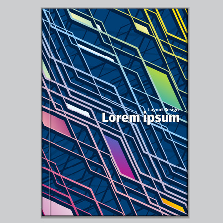 notebook cover: Abstract isometric shape layout for your business. Book and brochure, literature textbook illustration