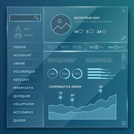 Glass website elements templates set. Element design button, internet chart and graph illustration