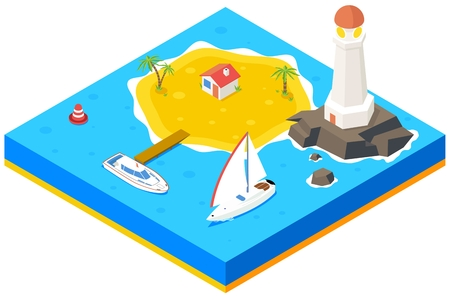 housing: Isometric island with ship, yacht and sea. Vector 3d background concept. Beach paradise, palm and pier, housing and lighthouse,  vector illustration Illustration